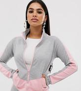 Parisian Petite color block zip front jacket loungesuit two-piece