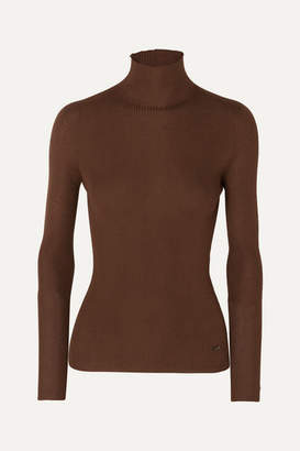 Akris Ribbed Cashmere And Mulberry Silk-blend Turtleneck Sweater - Brown