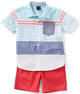 Nautica Baby Boys 12-24 Months Striped Short-Sleeve Woven Shirt & Solid Canvas Shorts Set