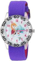 Disney Girl's 'Frozen Olaf' Quartz Plastic and Nylon Casual Watch, Color:Purple (Model: WDS000174)