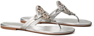 Tory Burch Miller Embellished-Logo Sandal, Metallic Leather