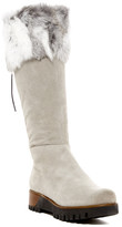 Manas Design Genuine Rabbit Fur Cuff Lace-Up Tall Platform Boot