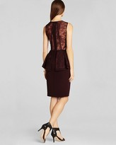 BCBGMAXAZRIA Sleeveless Lace Shoulder Peplum Dress - Whitley