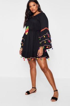 boohoo Plus Tassel Trim Flare Sleeve Beach Dress