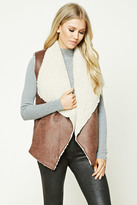 Forever 21 FOREVER 21+ Faux Leather Sherpa Fleece Vest