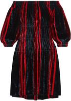 Sonia Rykiel Off-the-shoulder Striped Velvet Mini Dress - Navy