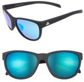 adidas Women's Wildcharge 57Mm Mirrored Sunglasses - Black Matte/ Blue Mirror