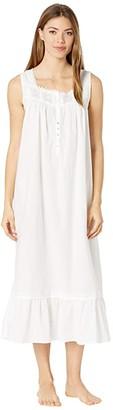 Eileen West Cotton Lawn Woven Sleeveless Ballet Nightgown (White) Women's Pajama