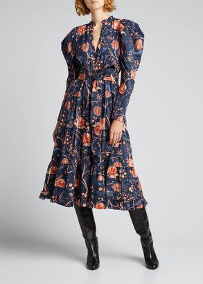 Ulla Johnson Nanette Cotton Long-Sleeve Floral Dress