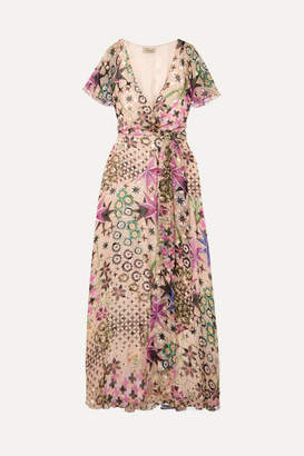 Temperley London Claudette Printed Devore Silk-blend Chiffon Wrap Maxi Dress - Beige