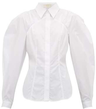 Sara Battaglia Blouson-sleeve Cotton-poplin Shirt - Womens - White