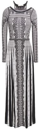 Roberto Cavalli Cutout Pointelle-trimmed Jacquard-knit Maxi Dress