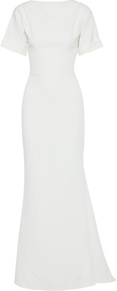 Badgley Mischka Open-back Stretch-cady Gown