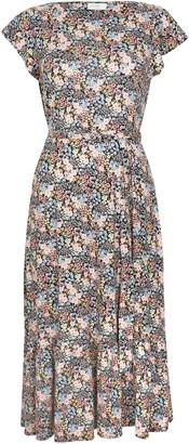 Wallis PETITE Pink Floral Print Belted Midi Dress