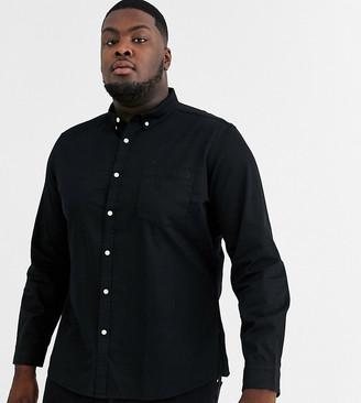 ASOS DESIGN Plus stretch slim organic denim shirt in black
