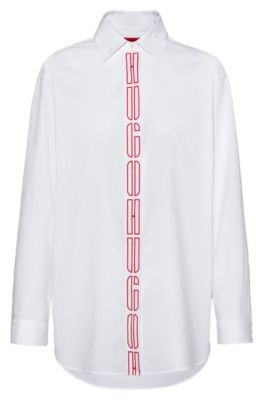 HUGO BOSS Oversized Fit Blouse In Stretch Cotton With Logo Placket - White