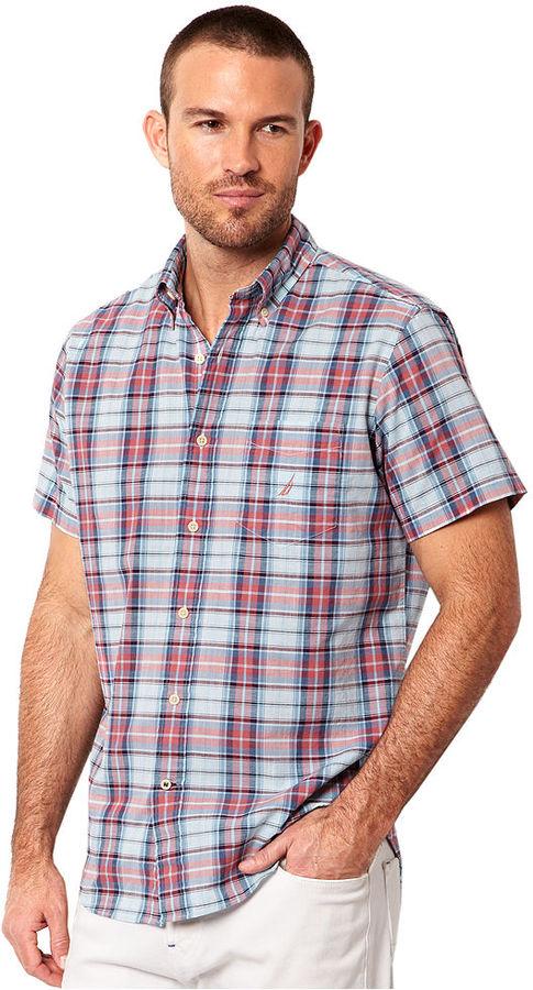 Nautica Shirt, Short Sleeve Slub Poplin Plaid Shirt