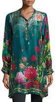 Johnny Was Heaven Long Floral-Print Silk Tunic, Plus Size