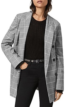 AllSaints Astrid Plaid Double Breasted Blazer