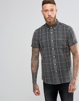 Asos Shirt With Plaid Check In Green With Short Sleeves In Regular Fit