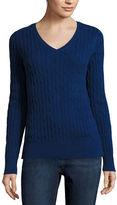 ST. JOHN'S BAY St. John's Bay Long-Sleeve Cable-Knit Sweater
