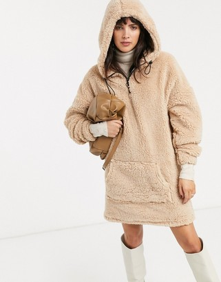 Asos Design DESIGN teddy hoodie dress-Red