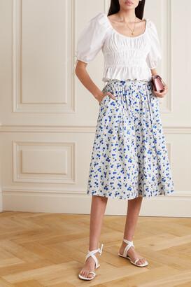 HVN Hope Print Stretch-cotton Poplin Skirt - White