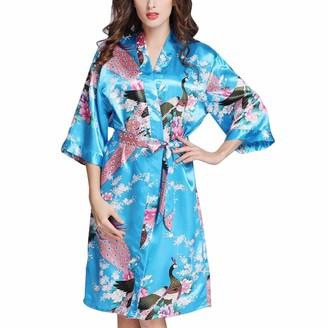 Missmao Fashion2019 MISSMAO_FASHION2019 Summer Silk Satin Kimono Dressing Gown Printing Peacock and Flower with Medium Length Sleeve for Women Wedding Girl's Bonding Party Pyjamas Lake Blue M