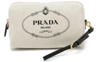 Prada Logo-print Canvas Make-up Bag - Womens - Beige