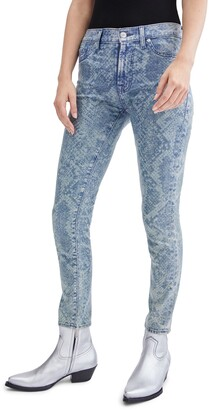 Seven London Animal Print Ankle Skinny Jeans