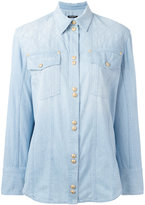 Balmain quilted denim shirt - women - Cotton - 38