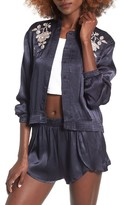 Obey Women's Ty Floral Embroidered Bomber Jacket