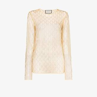 Gucci Womens Yellow Gg Logo Embellished Mesh Top