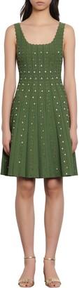 Sandro Avah Beaded Sleeveless Knit Fit & Flare Dress