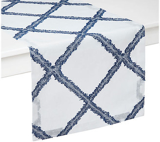 """Mykonos Table Runner - Blue/White - Mode Living - 90""""L x 16""""W"""