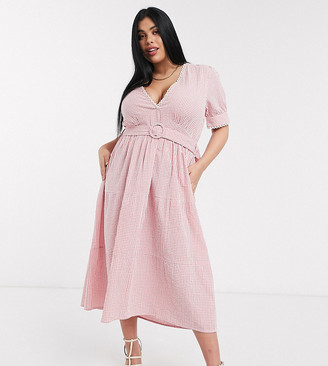 Neon Rose plus belted midaxi dress with lace trim in gingham