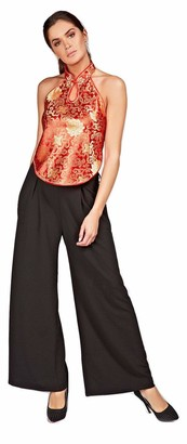 Strawberry Leopard Womens Backless Croptop Halter Neck (Red)