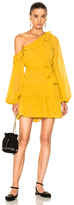 Nicholas for FWRD One Shoulder Tiered Mini Dress in Yellow.