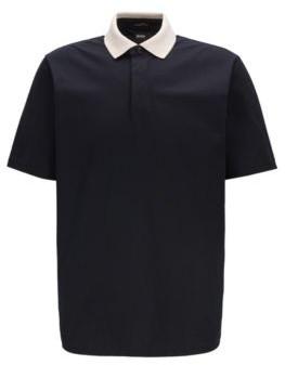 BOSS Contrast collar polo shirt in luminex cotton jersey