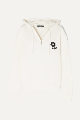 ALEXACHUNG Embroidered Cotton-jersey Hoodie - Off-white
