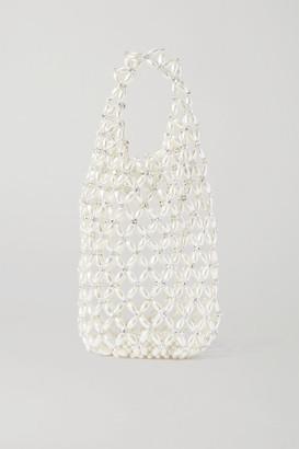 Simone Rocha Crystal-embellished Beaded Tote - White