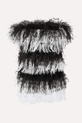 Saint Laurent Strapless Feather-embellished Velvet And Sequined Mesh Mini Dress - Black