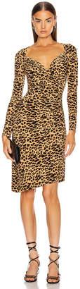 Norma Kamali Long Sleeve Sweetheart Side Drape Dress in Golden Leopard | FWRD