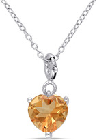Julianna B 1 2/3 CT TW Citrine Sterling Silver Heart Enhancer Pendant Necklace