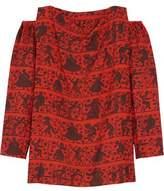 Vivienne Westwood Fatima Cold-Shoulder Printed Voile Top