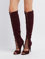 Charlotte Russe Lace-Up Over-The-Knee Boots