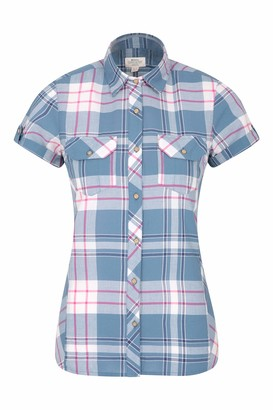 Mountain Warehouse Holiday Womens Cotton Shirt - Short Sleeve Ladies Top Casual Shirt Lightweight Ladies Summer Shirt Breathable Blouse - for Travelling