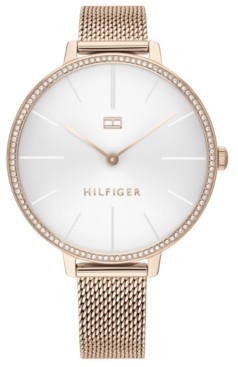 Tommy Hilfiger Women's Rose Gold-Tone Stainless Steel Mesh Bracelet Watch 38mm, Created for Macy's