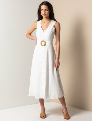 Forever New Mina A-line Belted Midi Dress - Porcelain - 10