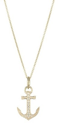 Sydney Evan 14K Yellow Gold & Diamond Small Pave Anchor Charm Necklace
